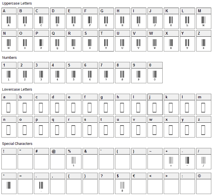 CIA Code 39 Font Character Map