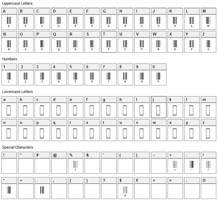 CIA Code 39 Font Character Map