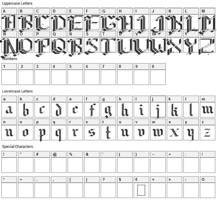 CiberGotica Font Character Map