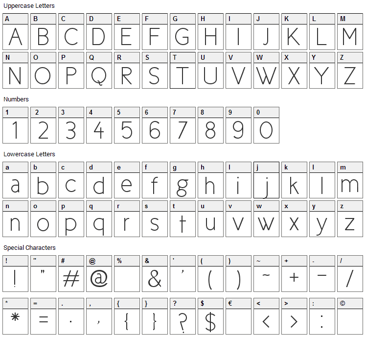 Cicle Font Character Map