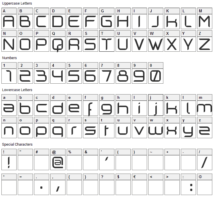 Cilogie Font Character Map