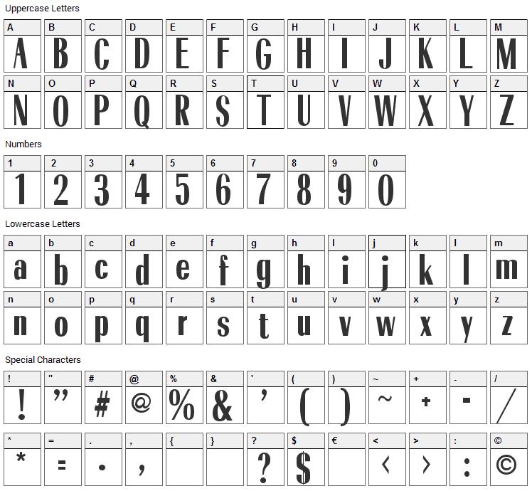 Cindybob Font Character Map