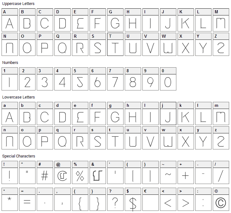 Cinga Font Character Map
