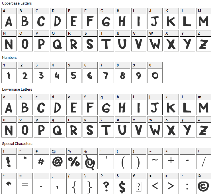 Cipp Hand Font Character Map