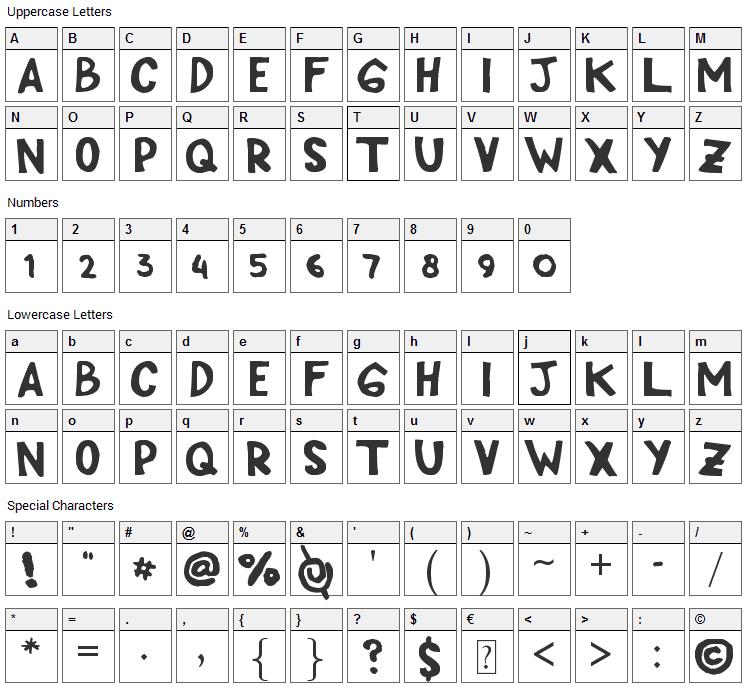 Cipp Hand Font Character Map