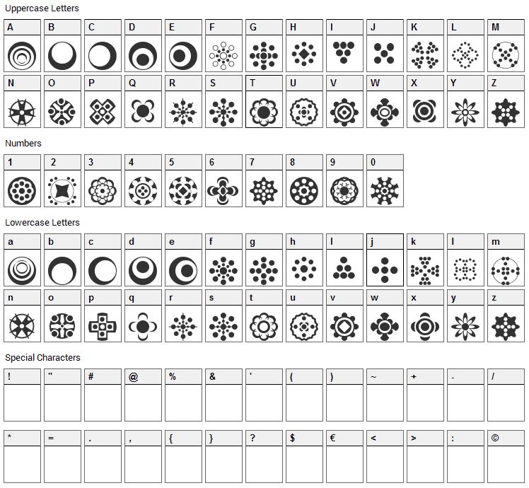 Circle Things 2 Font Character Map