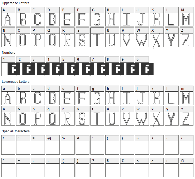 Circuit Board Font Character Map