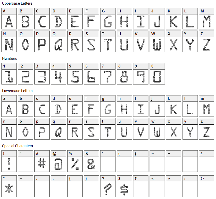 Circuit Font Character Map