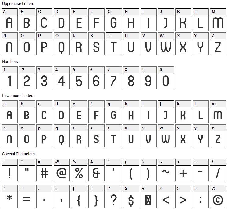 Circula Font Character Map