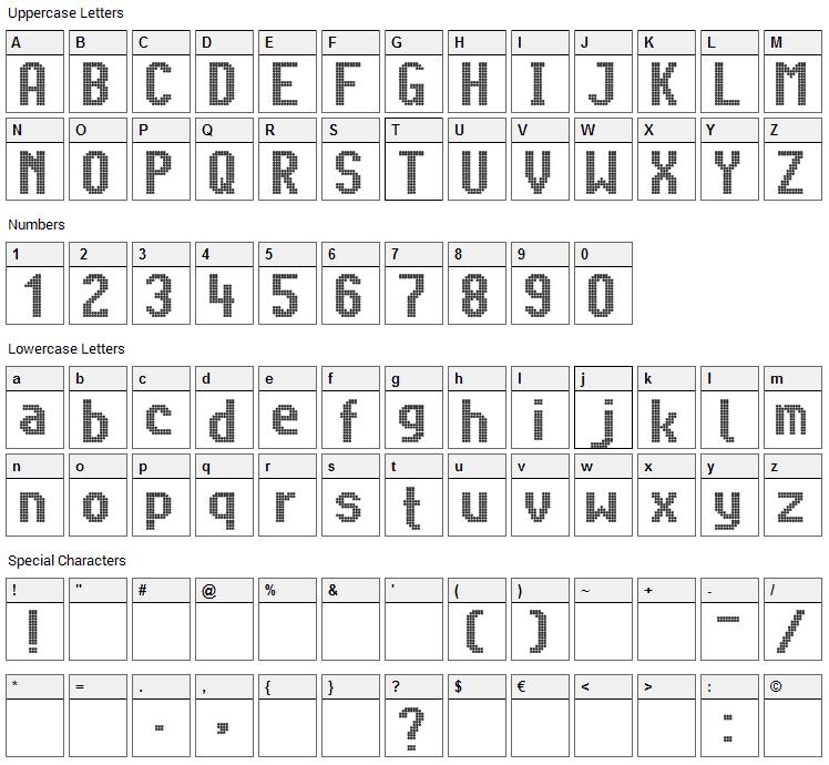 Citaro Voor Dubbele Hoogte, Breed Font Character Map