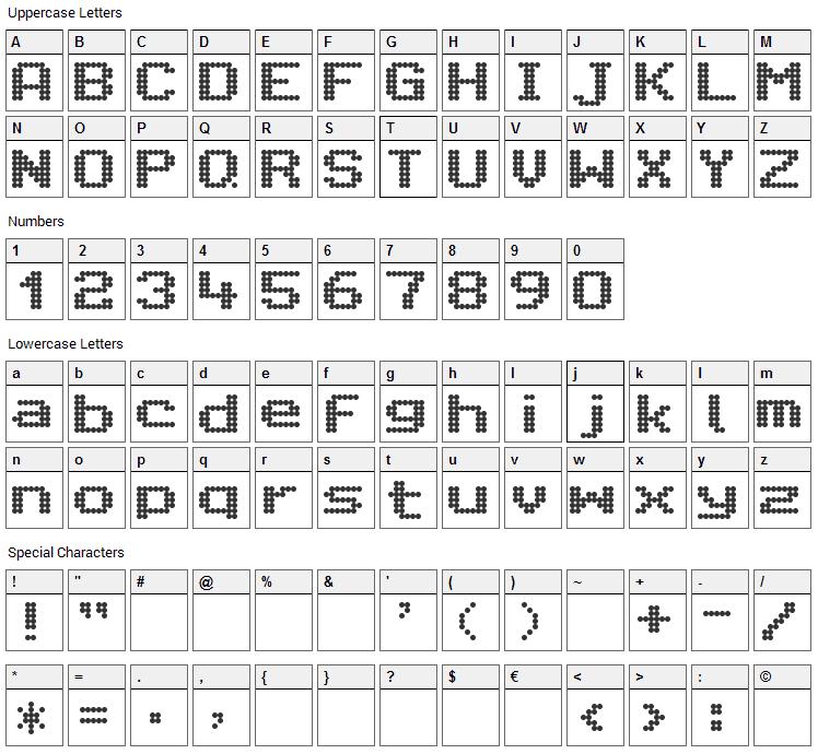 Citaro Voor Enkele Hoogte, Breed Font Character Map