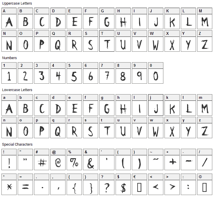 Citizen Dick Font Character Map