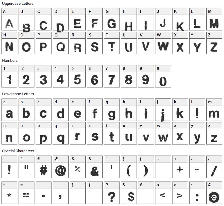 City Burn Font Character Map