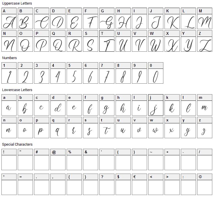 Clarissa Font Character Map