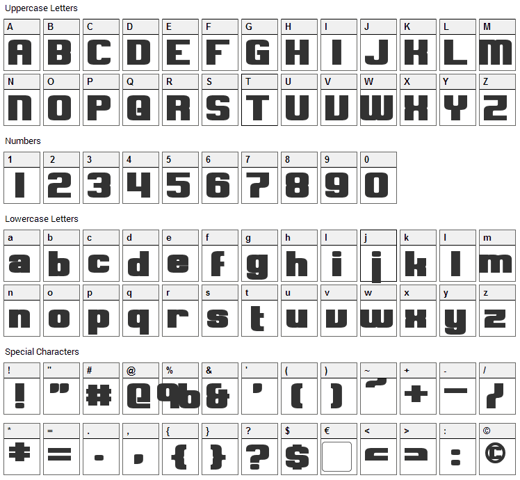 Clark Font Character Map