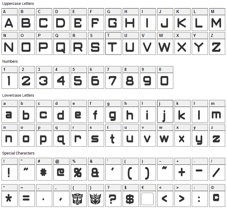Classic Robot Font Character Map