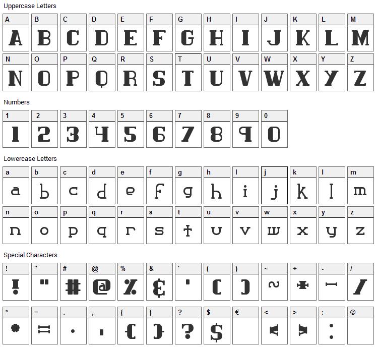 Classic Trash Font Character Map