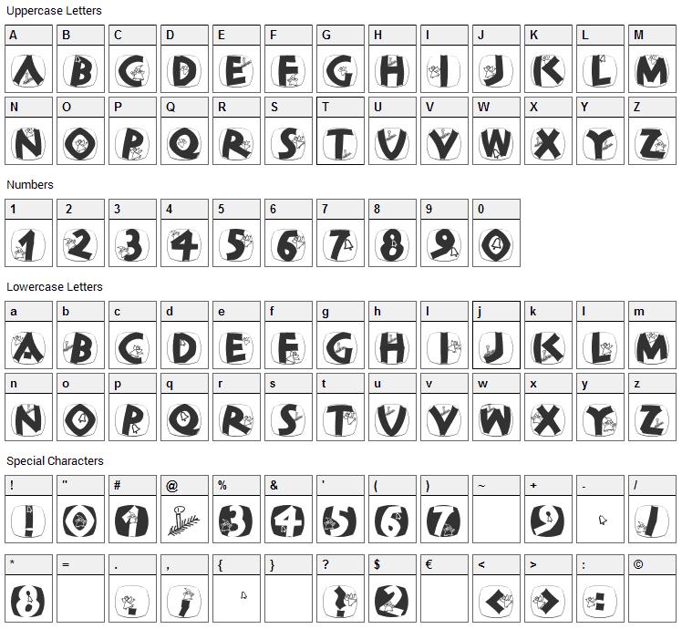 ClassiCaps Xmas Font Character Map