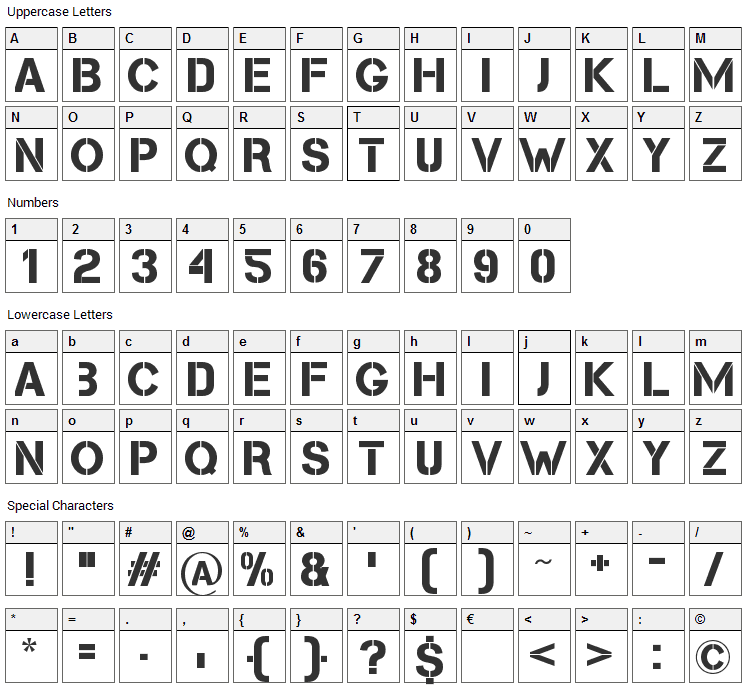 Cleanwork Font Character Map