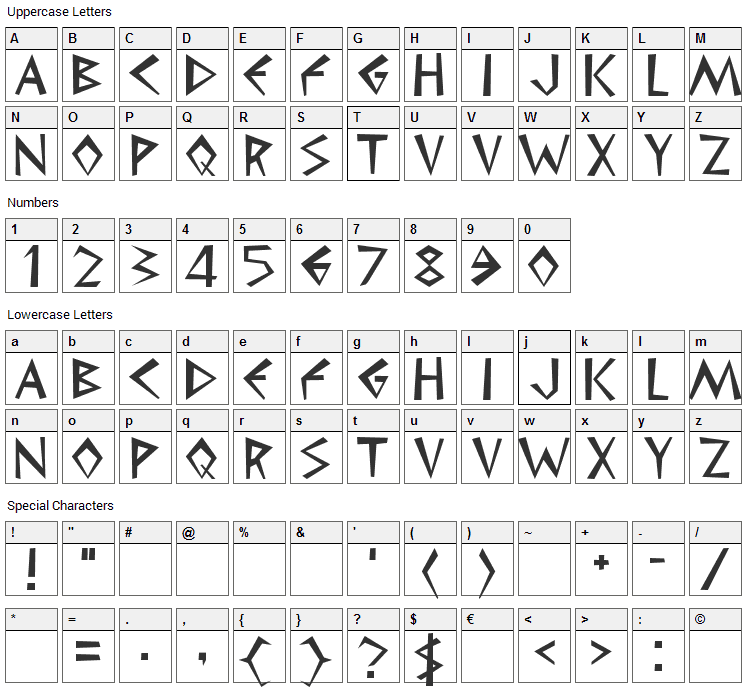 Cleopatra Font Character Map