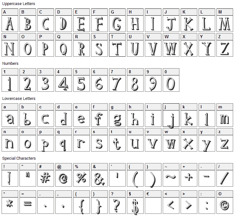Clink Font Character Map