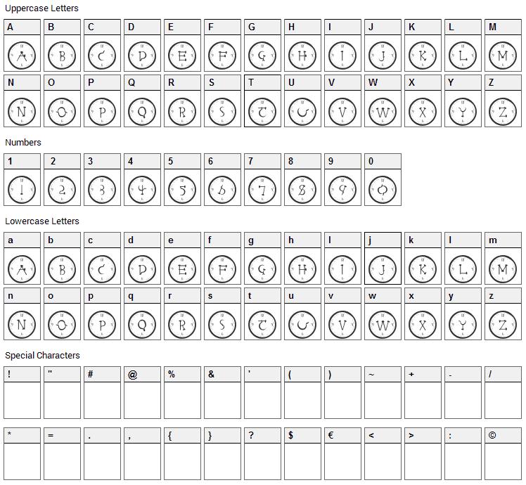 Clock Face Font Character Map