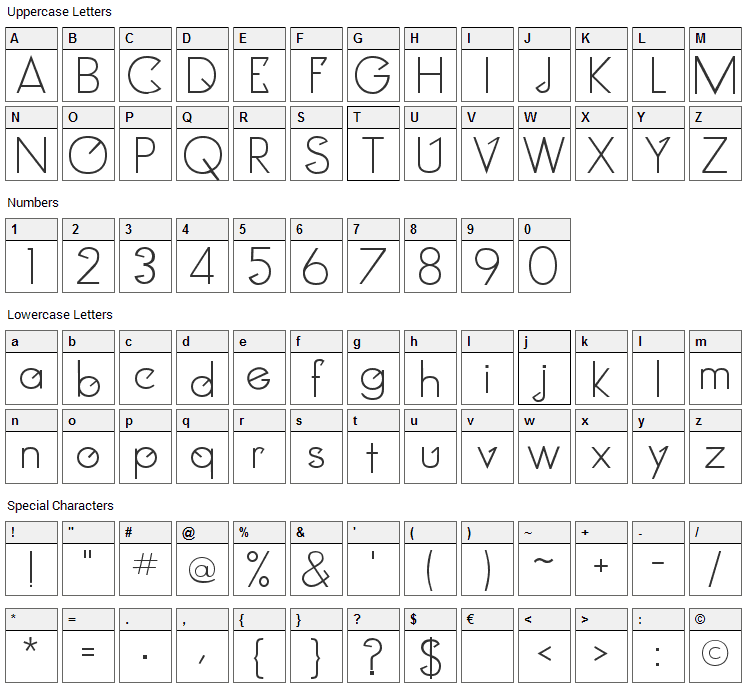 Clocker Font Character Map