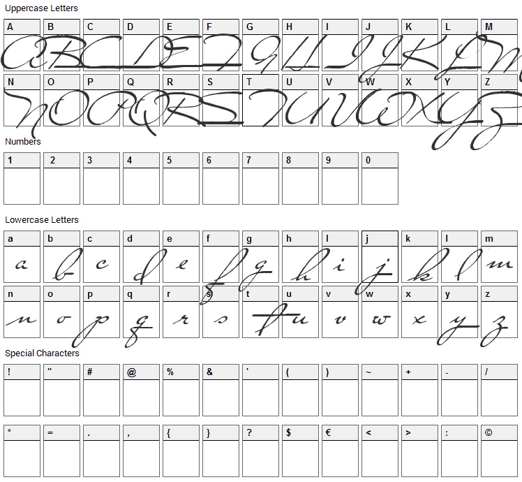Close to You Font Character Map