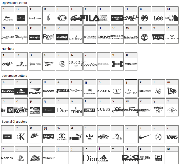 Clothing Logos Font Character Map