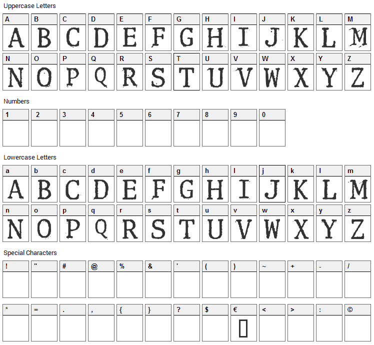 Clunk Font Character Map