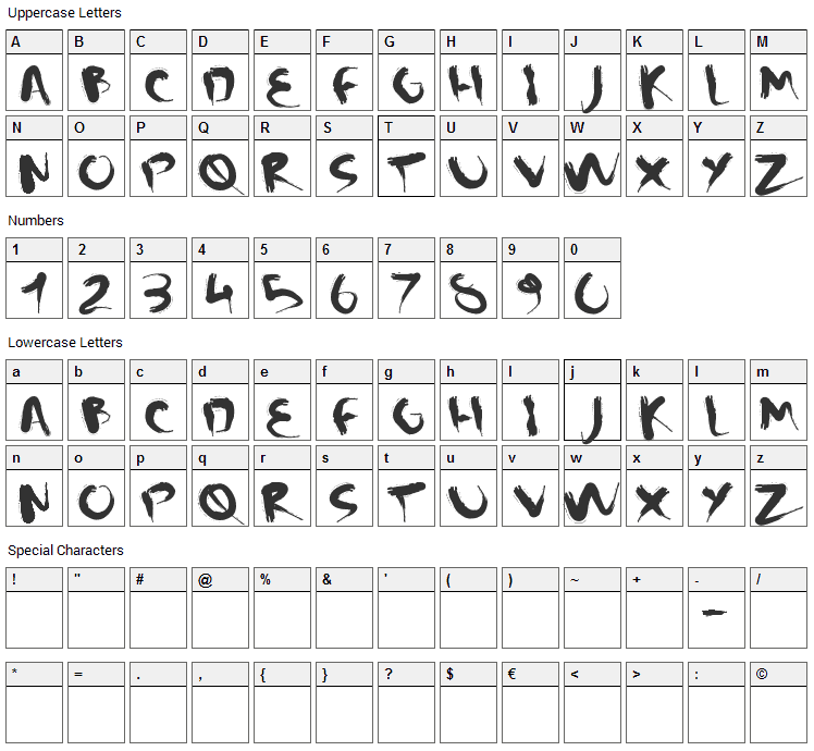 CM Squish Font Character Map