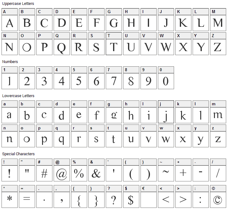 CM Tiempo Font Character Map