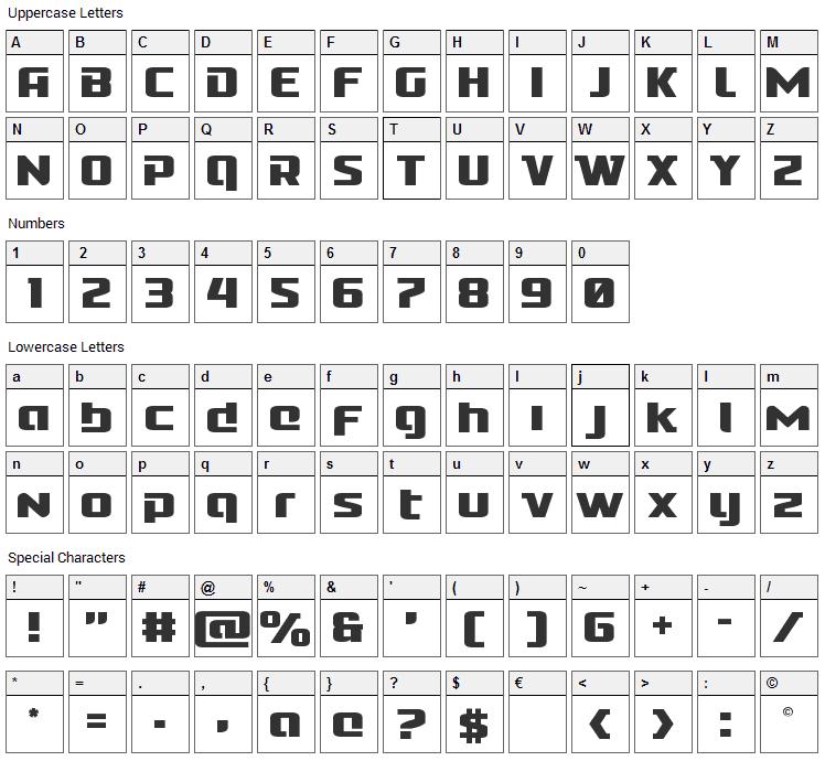 Cobalt Alien Font Character Map