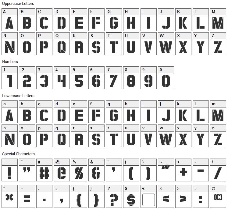 Coburn Font Character Map