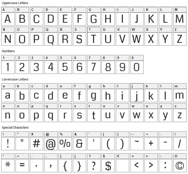 Coda Font Character Map