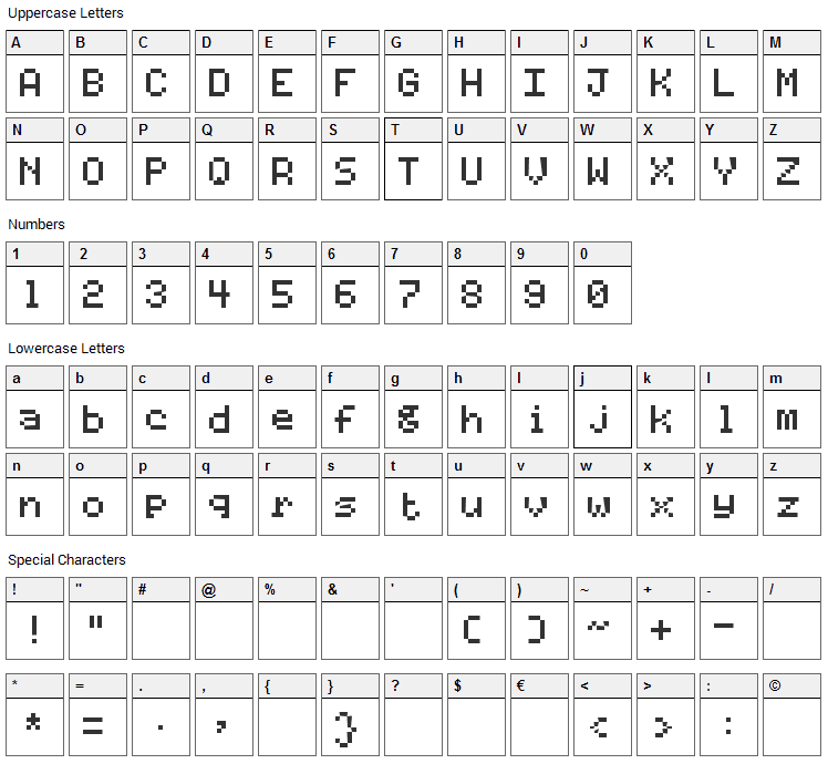Code 7x5 Font Character Map