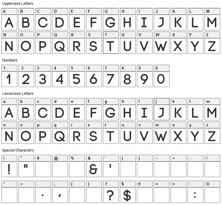 Code Font Character Map