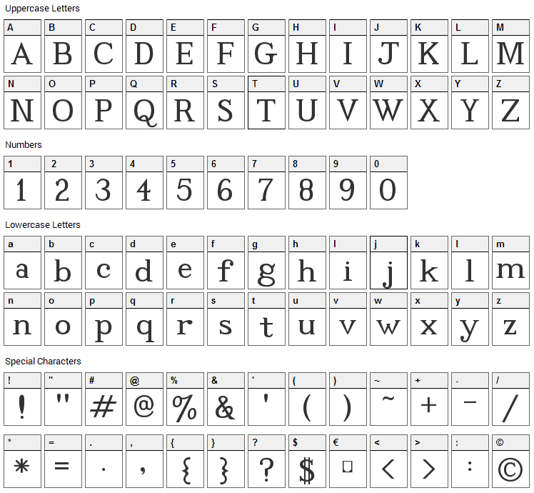 Code2001 Font Character Map