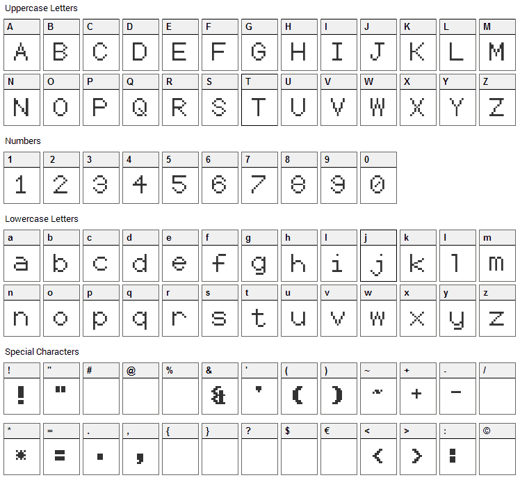 Coders Crux 2 Font Character Map