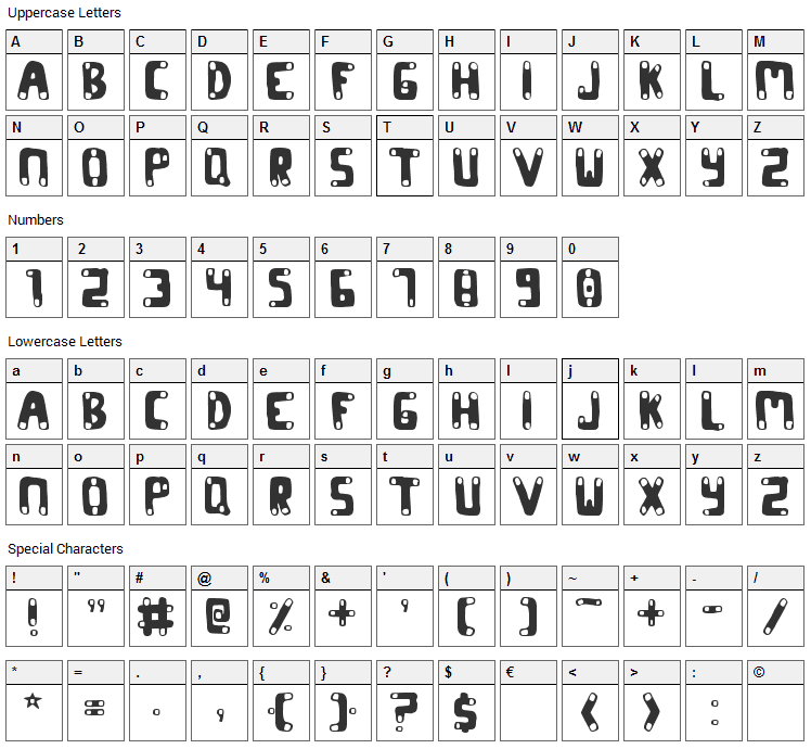 Codon Font Character Map