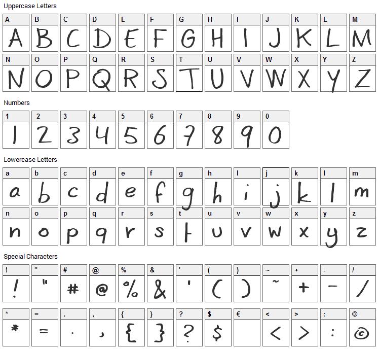 CoertSchrift Font Character Map