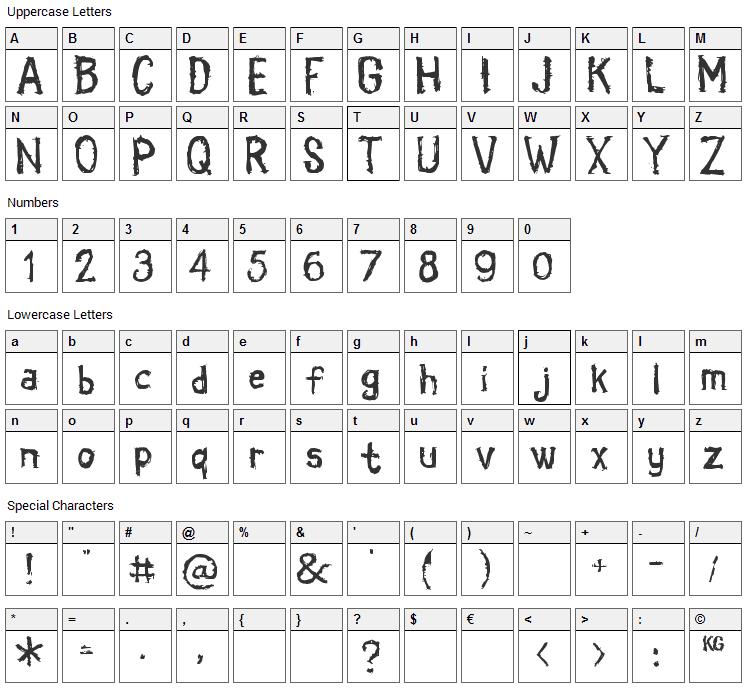Coldbringer Font Character Map