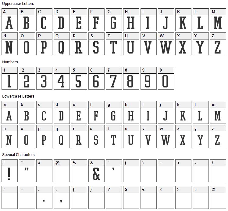 College Boy Font Character Map