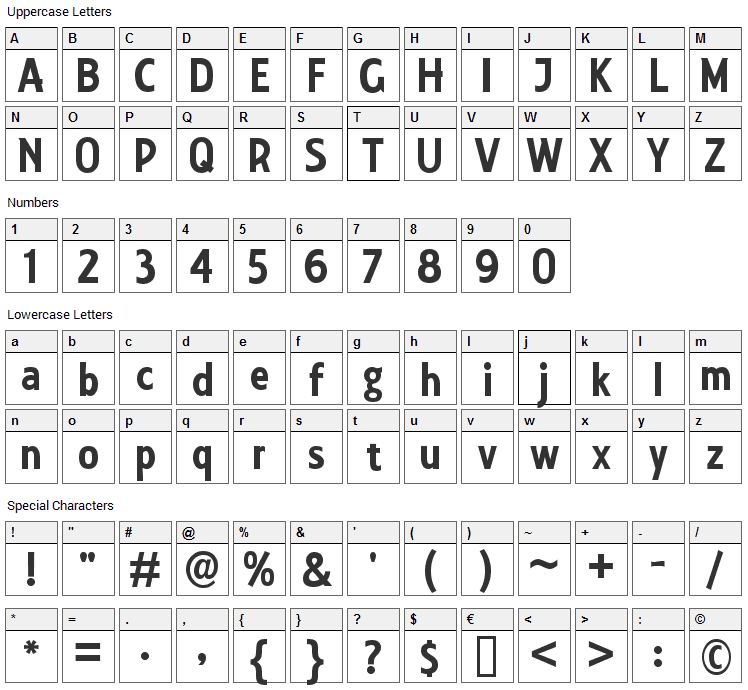 Collegiate Font Character Map