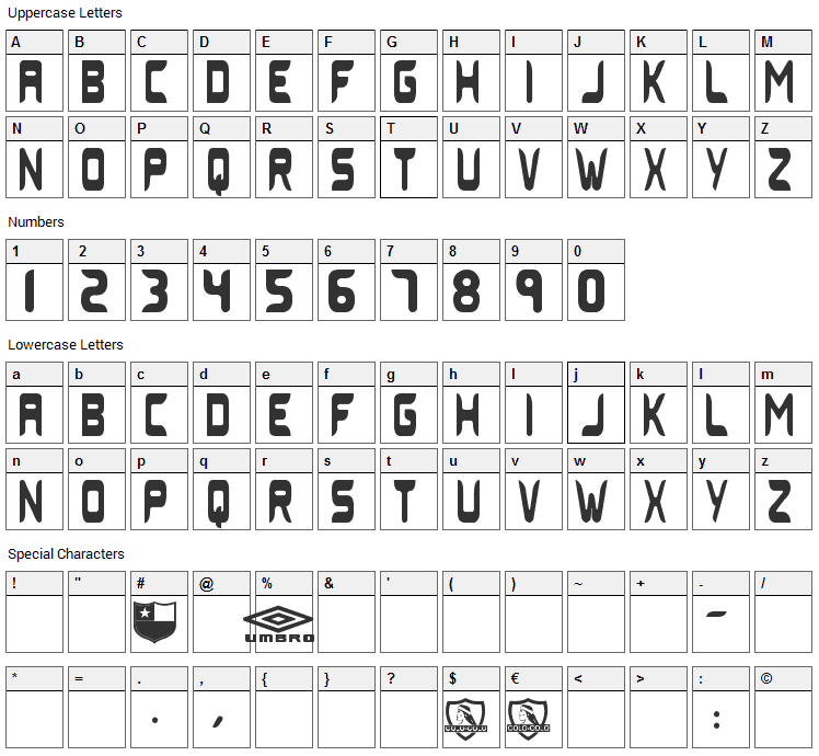 Colo Colo Umbro 2006 Font Character Map