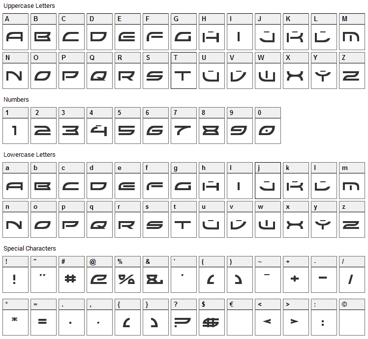 Colony Wars Font Character Map