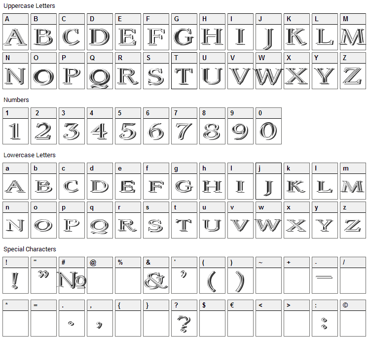 Coltaine Font Character Map