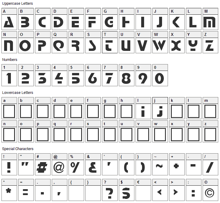 Comaro Font Character Map