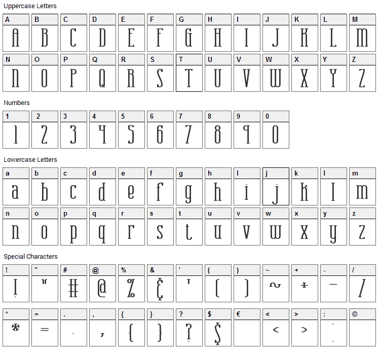 Combustion Font Character Map