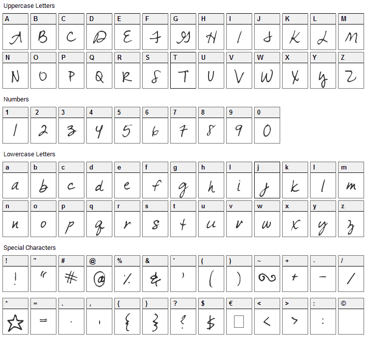 Come Unto Me Font Character Map